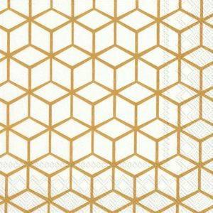 Bilde av Servietter lunsj Geometry White/Gold